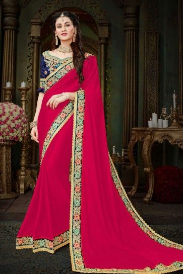 Cerise Georgette saree
