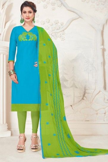 Skay Blue Modal Silk Churidar Suit