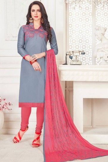 Grey Satin Cotton Churidar Suit