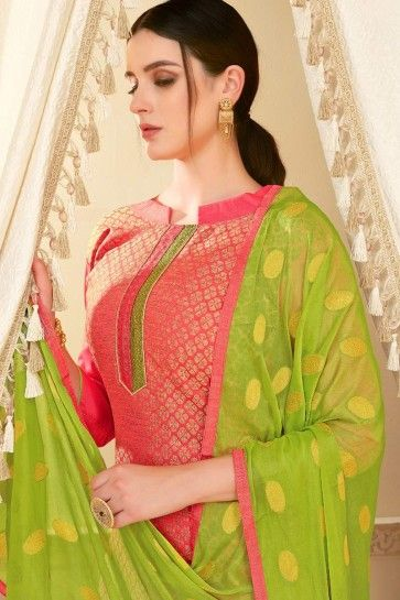 PINK BANARASI SILK Churidar Suit