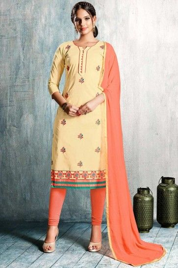 BEIGE PC COTTON Churidar Suit