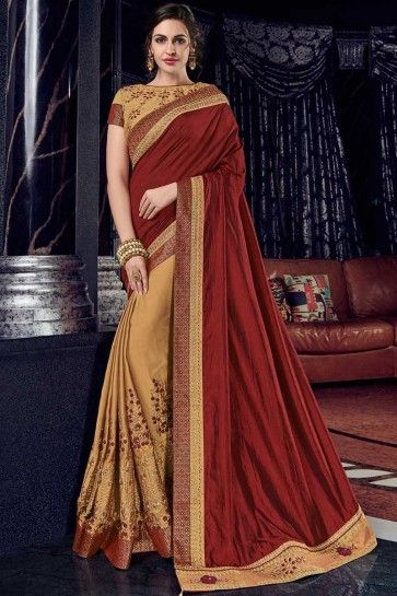 maroon and gold two tone silk fabrics and bright georgette saree