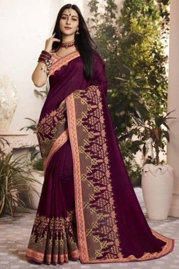 Purple Silk Fancy Georgette saree