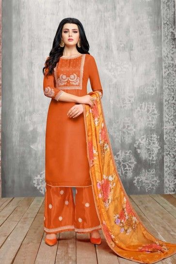 Orange Upada Silk Palazzo Suit