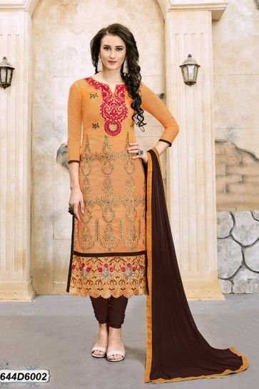 Yellow color Chanderi Churidar Suit