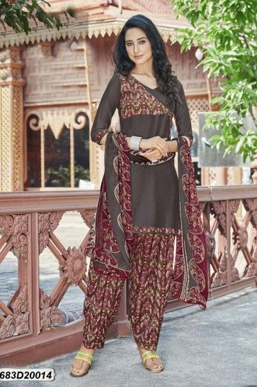 Grey Cotton Satin Patiala suit