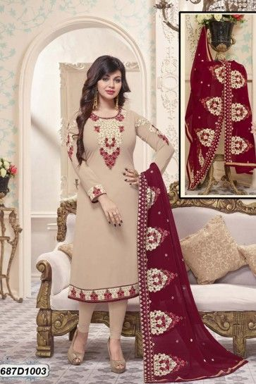 Beige color Georgette Churidar Suit