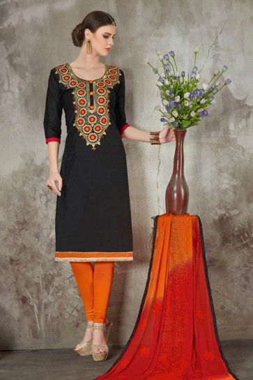 Black color Chanderi Silk Churidar Suit