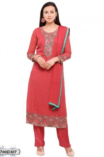 Red color Georgette Salwar Kameez