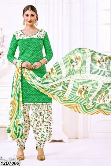 Green Cotton Patiala suit