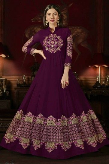 Magenta color Georgette Anarkali Suit