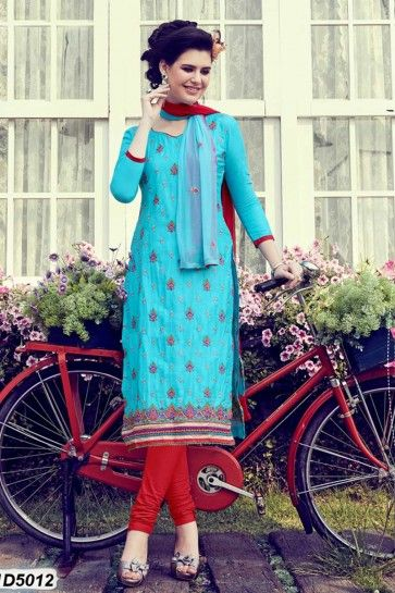 Blue color Cotton Satin Churidar Suit