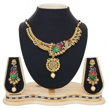 Golden synthatic crystal, pearl Necklace Set