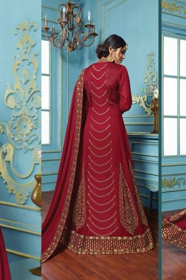 Maroon color Georgette Anarkali Suit
