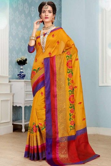 Yellow color Cotton Art Silk saree