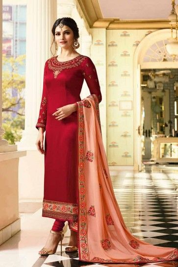 Red color Soft Silk Churidar Suit