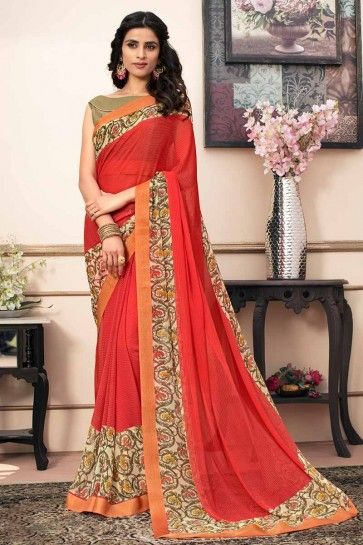 Red color Georgette saree