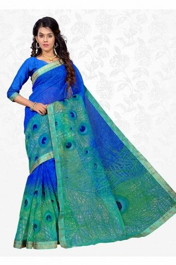 Blue & Sea Green color Cotton Silk saree