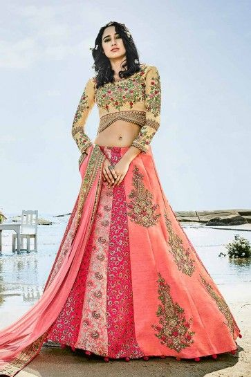 Light Pink color Art Silk & Jacquard Silk Lehenga Choli