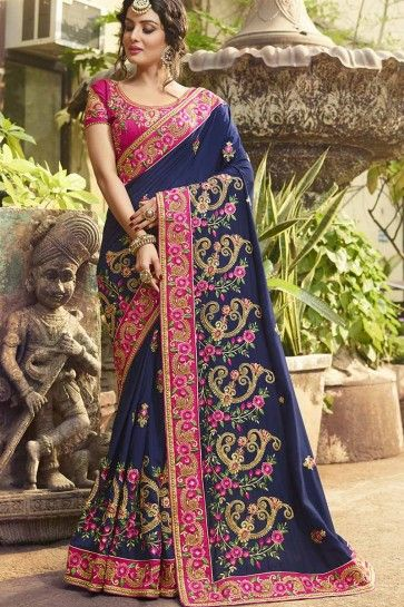 Navy Blue color Art Silk saree