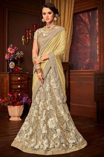 Gold & Cream color Imported Fancy Fabric & Net saree