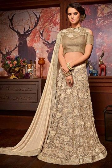 Beige color Imported Fancy Fabric & Net saree