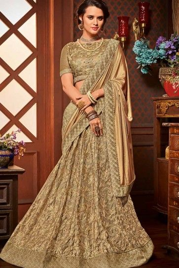 Golden & Beige color Imported Fancy Fabric & Net saree