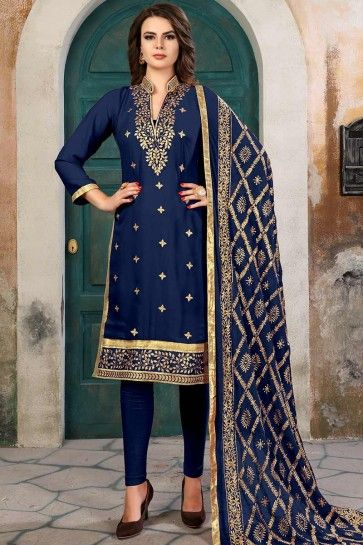 Blue color Georgette Churidar Suit