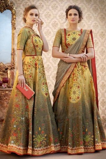 Multi color Banarasi Art Silk Lehenga Choli