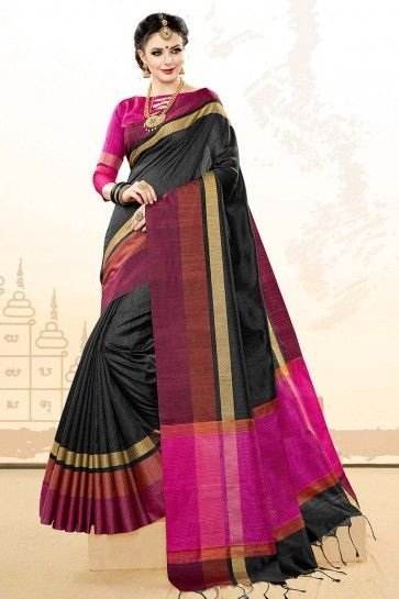 Black Khadi Cotton Silk saree