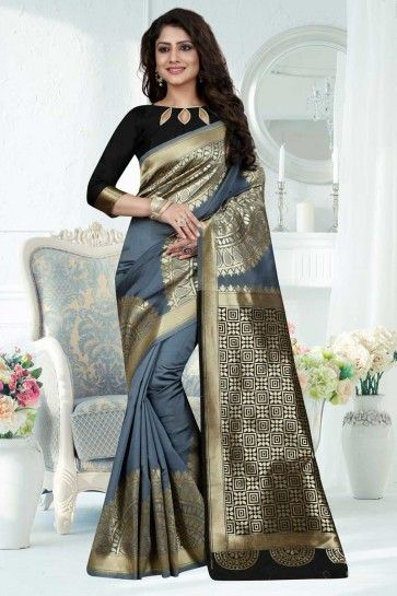 Grey Banarasi Art Silk saree