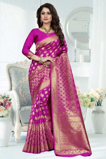 Rani Pink Banarasi Art Silk saree
