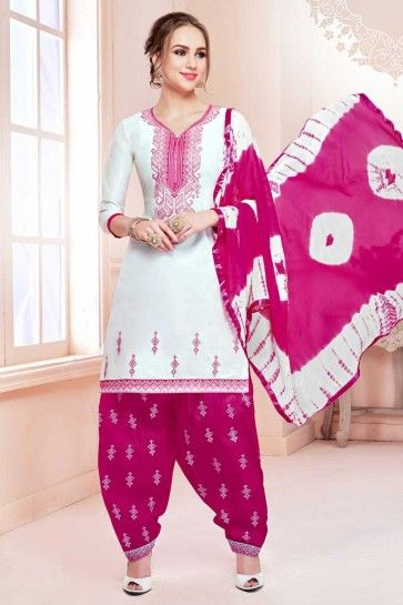 White Cotton Patiala Suit