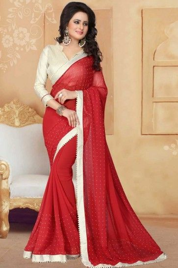Red Georgette saree