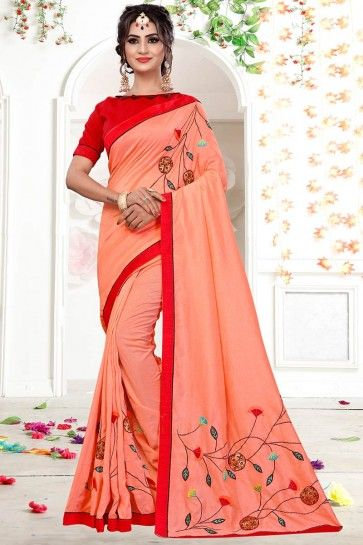 Peach Fancy Georgette saree