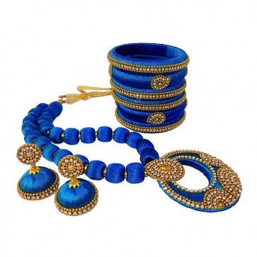 Blue American diamond, synthatic pearl Necklace Set