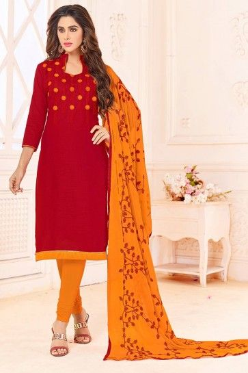 Red Cotton Slub Churidar Suit