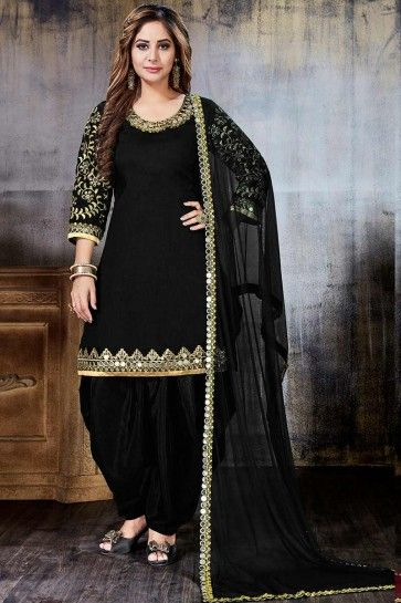 Black Art Silk Patiala Suit