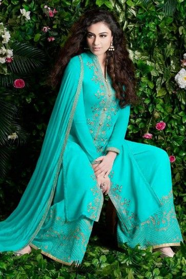 Turquoise Blue Georgette Palazzo Suit