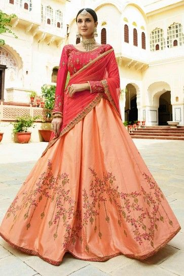 Peach Soft Silk Lehenga Choli