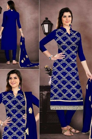 Royal Blue Chanderi Churidar Suit