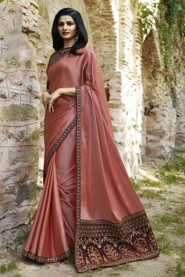 Dusty Pink Soft Silk saree