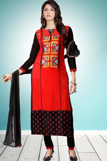 Red Cambric Cotton Churidar Suit