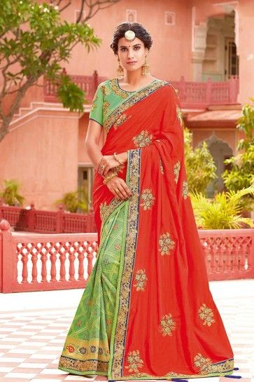 Red & Light Green Weaved Silk saree
