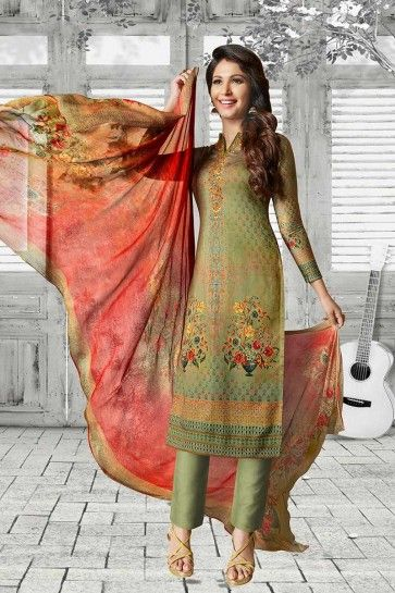 Green Soft Cotton Churidar Suit