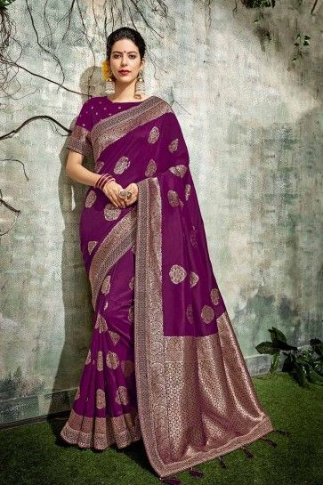 Purple Jacqurad Silk saree