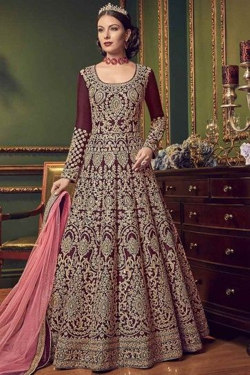 Maroon Soft Silk Anarkali Suit