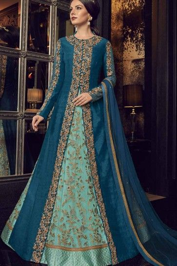 Gown-Aqua Blue / Jacket- Blue Gown-Net / Jacket-Art Silk Anarkali Suit