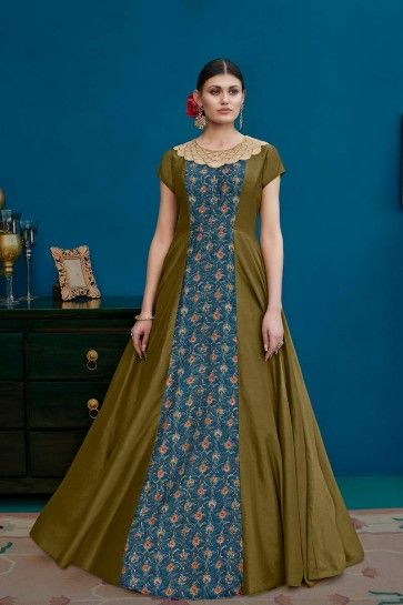 Olive Green & Blue Art Silk Anarkali Suit