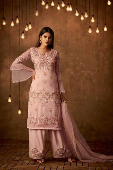 Baby Pink Net Palazzo Suit